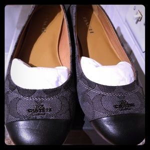 Coach Black Leather/Smoke Flats